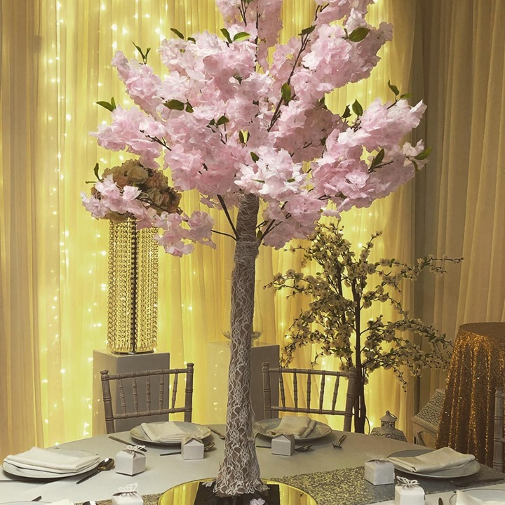 In case you missed this our pink blossom centrepieces are available to hire now. I just love these so adorable. They look so much better when you see them x #weddingdecor #weddingdecorations #weddings...