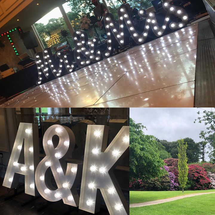 Another beautiful Wedding with our gorgeous light up letters, led dancefloor, postbox and selfie mirror. I'm the gorgeous Renaissance suite at the Galgorm and that wall of flowers and trees facing bre...