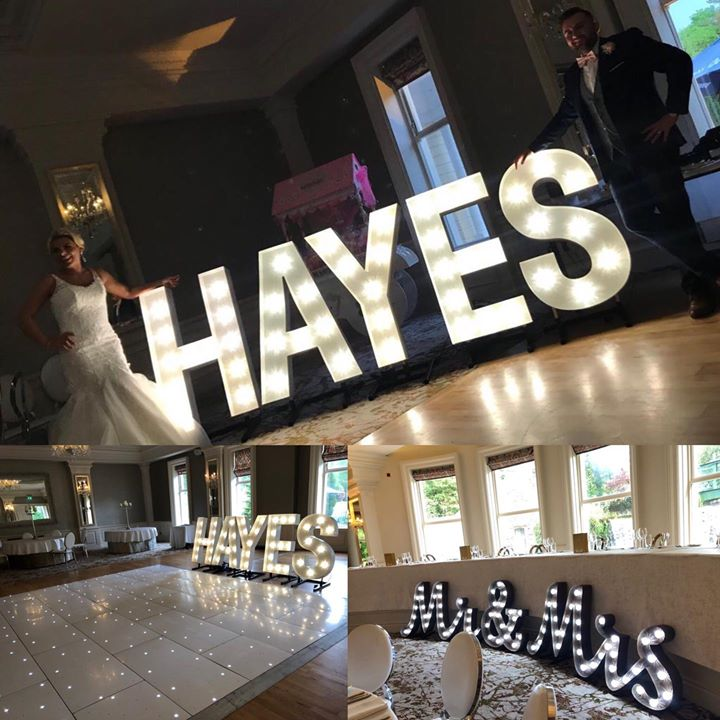 Meet the new Mr&Mrs Hayes. What a perfect way for everyone to see your new surname x We provided light up letters and led dancefloor for our lovely couples Wedding in the grandeur of the Great Hal...