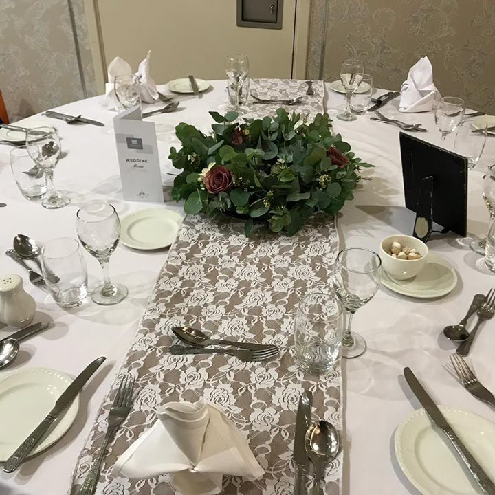 Just life table decor. Our hessian & lace runners looked so beautiful at our lovely couples Wedding at Corick house x Congratulations to you both. #weddingdecor #weddingdecorations #weddingdecorat...