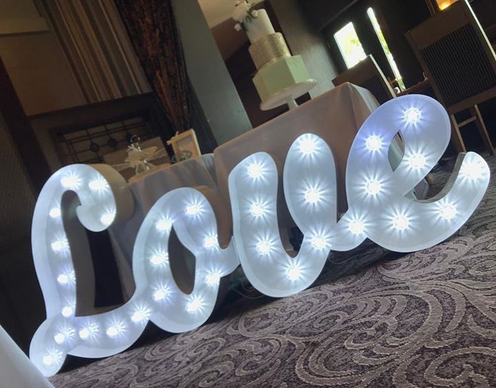 All you need is love. Congratulations to our lovely couple who celebrated their Wedding in the Bryansburn Inn in Bangor yday. #lightupletters #weddingday #weddingdecorations