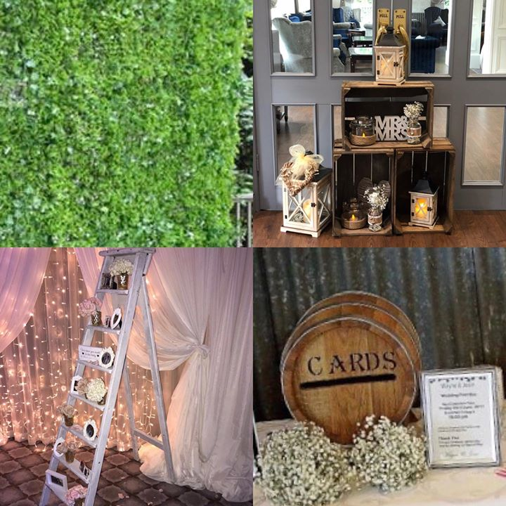 Vintage and earth themes. Featuring our new grass wall, vintage ladder, postbox barrel and Wedding crates with accessories x #vintageweddings #venuestyling #eventdecor #weddingdecoration